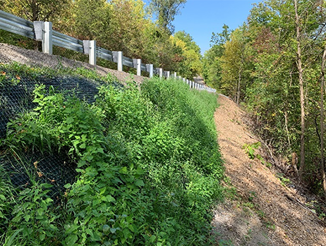 Embankment slope reconstruction shortly following construction completion.