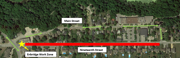 Map showing the area of roadway closed along Nineteenth Street - April 2021