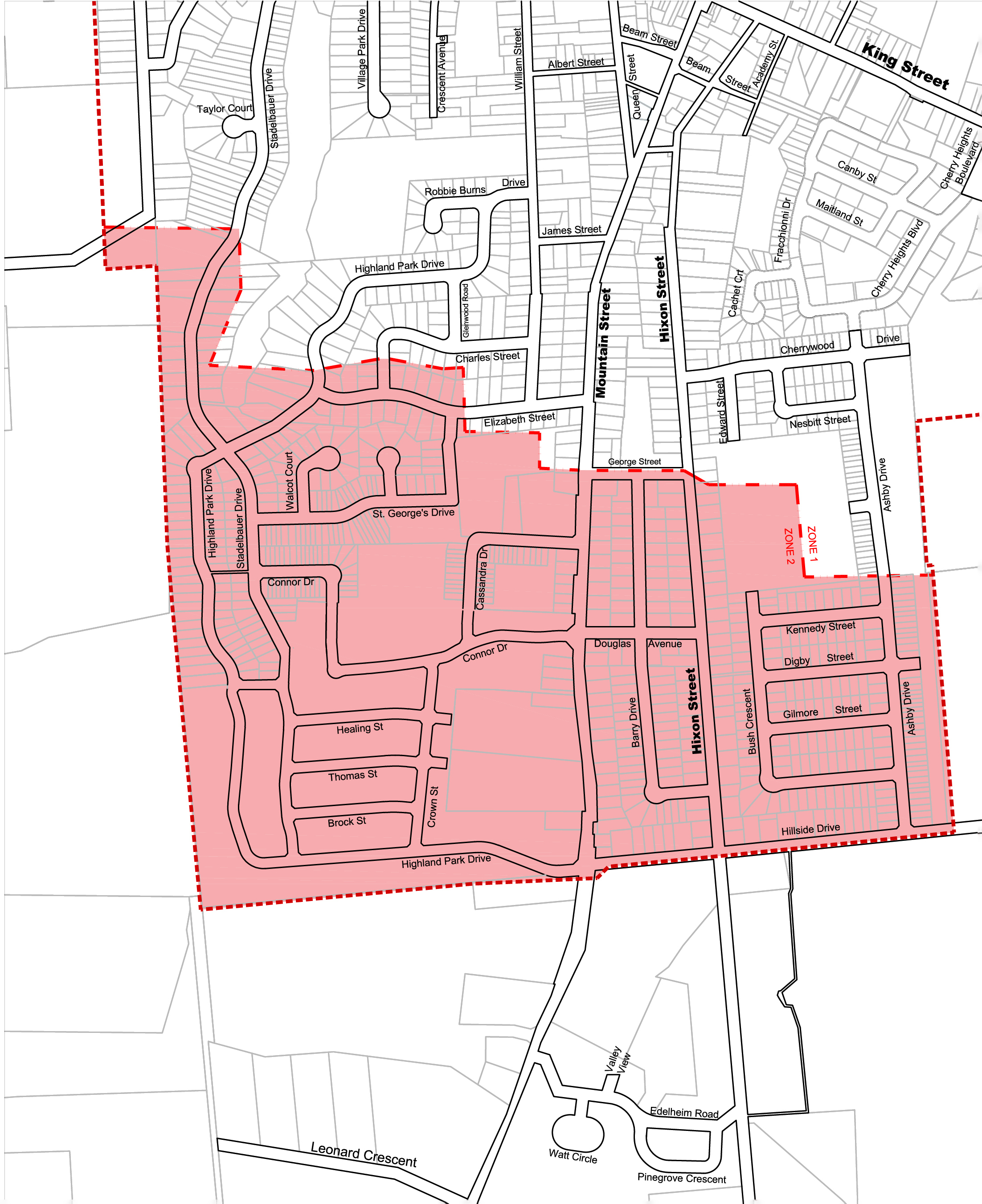 Map showing affected residents