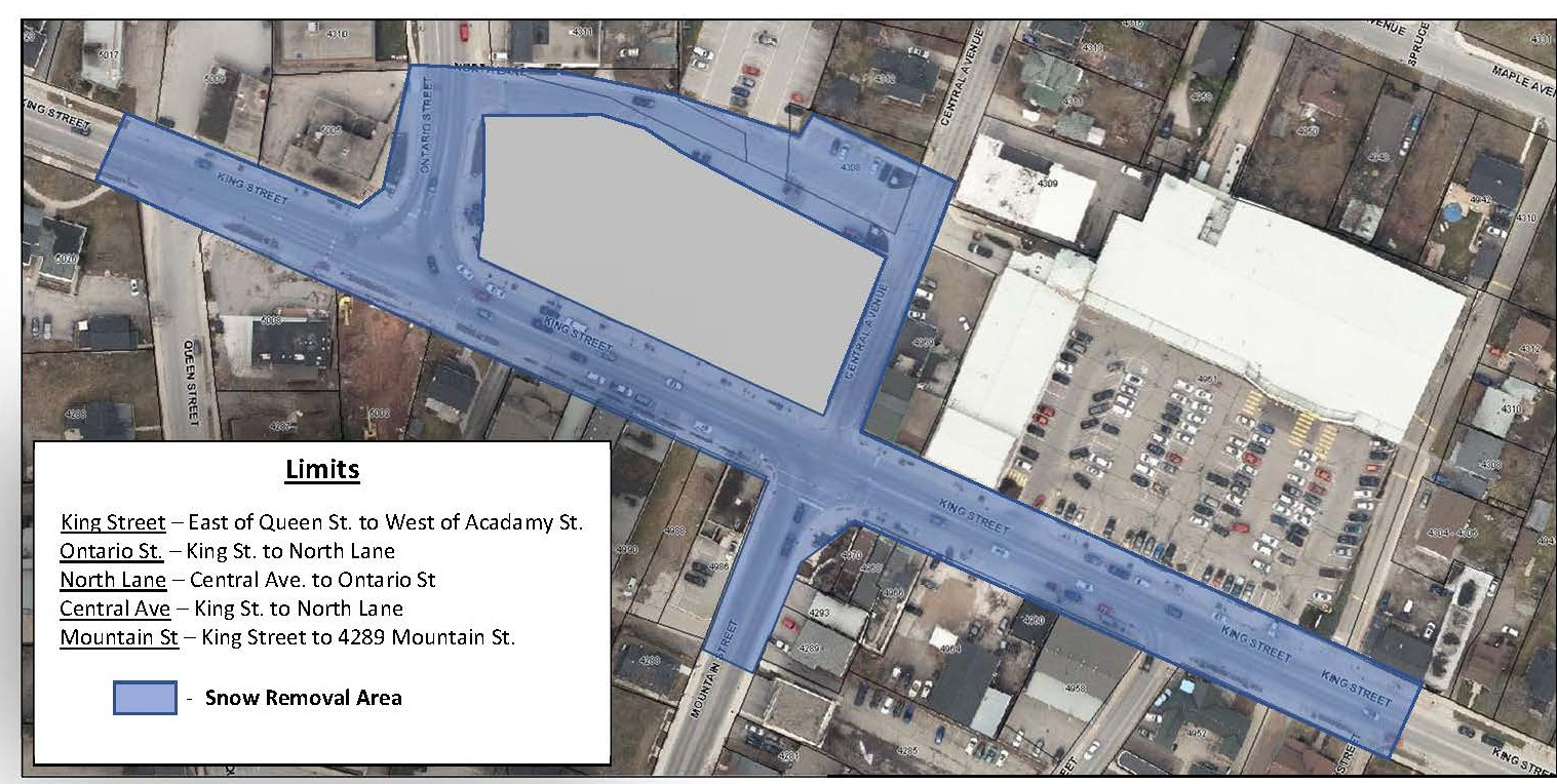 Map of snow removal area in downtown Beamsville
