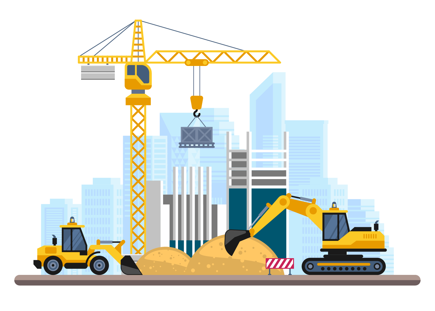 Illustration of construction site in city
