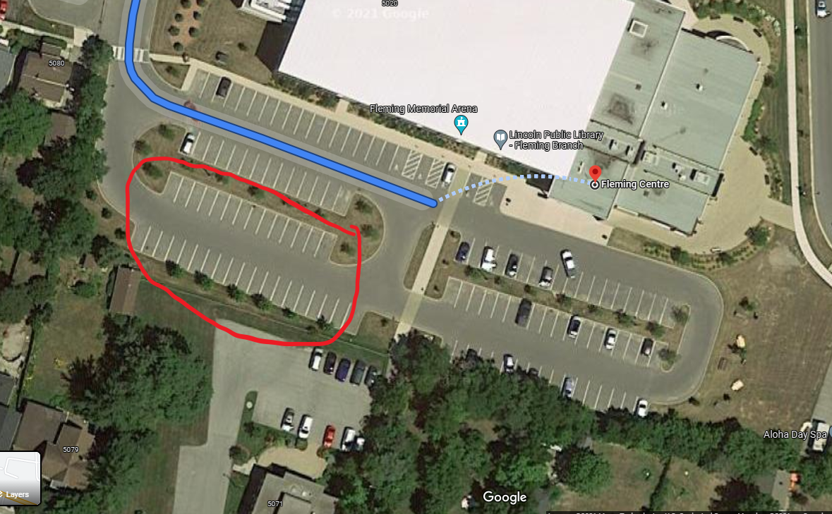 Aerial view of Fleming Centre Parking Lot and location of GO-VAXX clinic