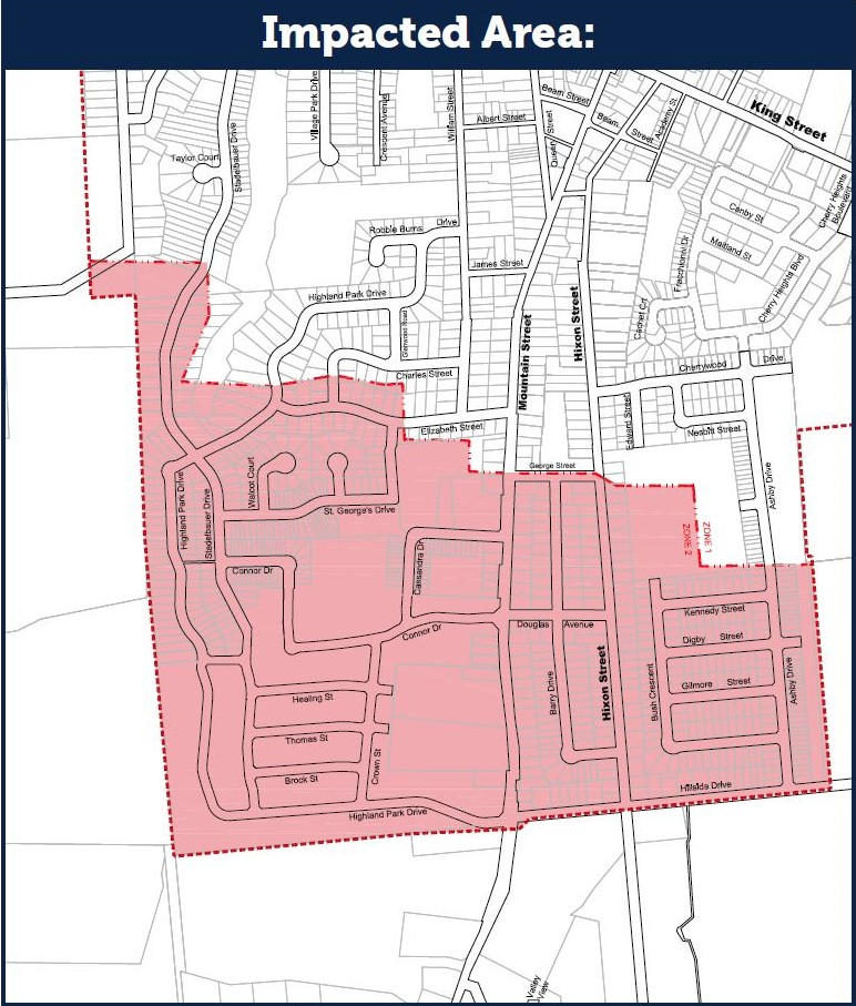 Map of affected customers due to Pumping Station upgrades