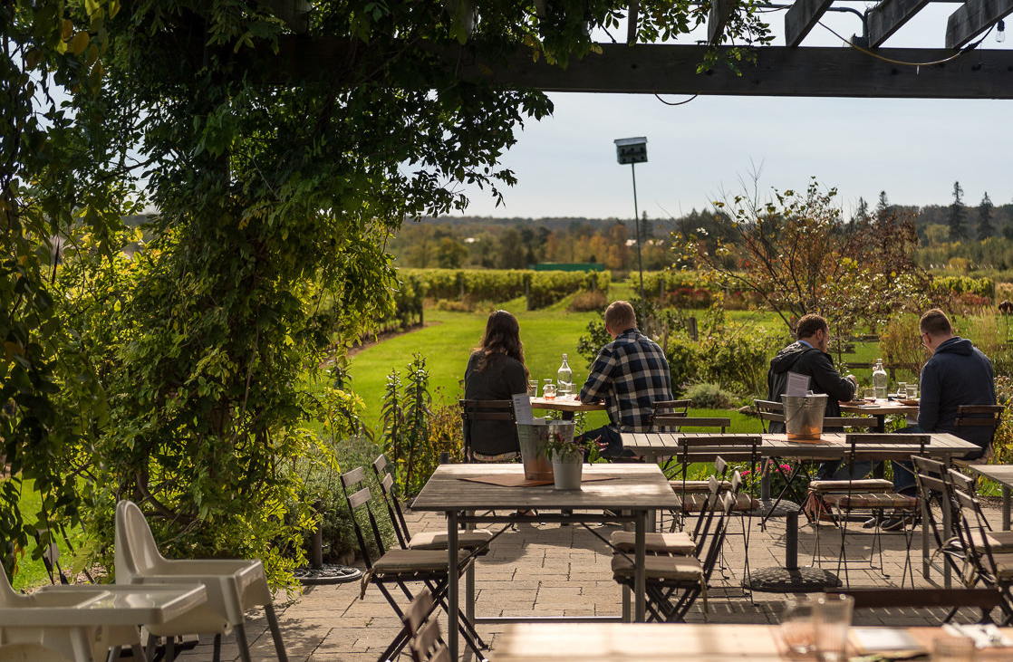People sitting at tables in an outdoor patio