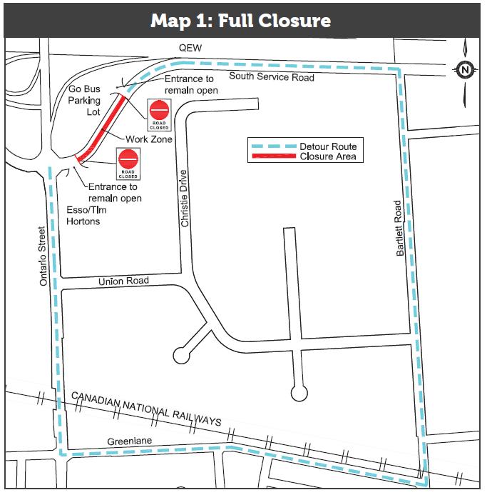 Map of the South Service Road Closure