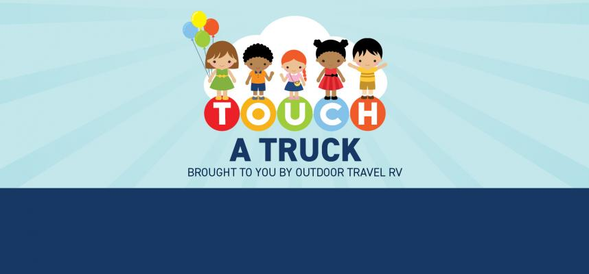 banner promoting Touch a Truck event on May 25