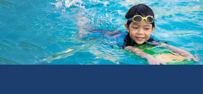 Web banner with image of young boy swimming