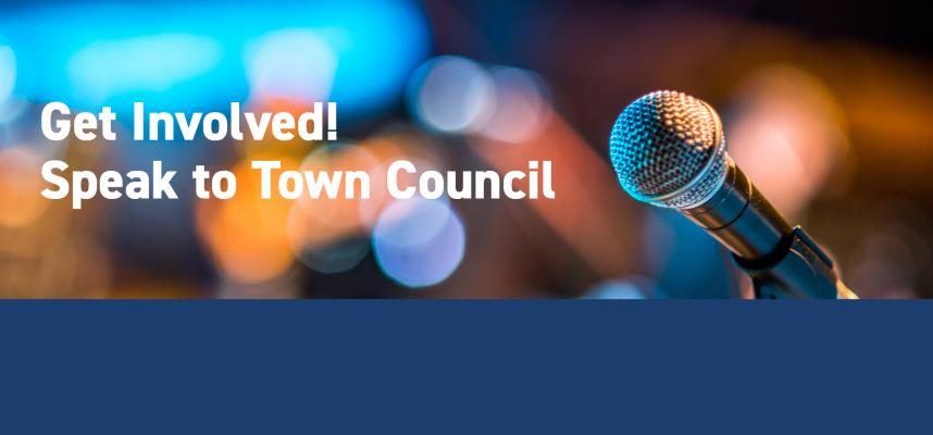 Image of microphone promoting speaking at Town council
