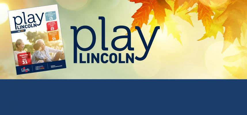 Web banner with cover of Play Lincoln - our recreation guide