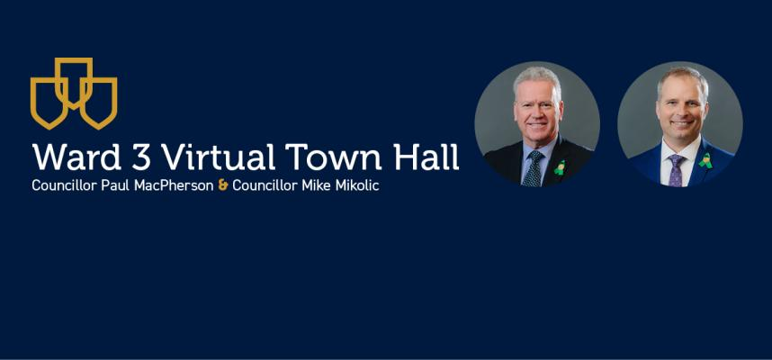 Image of Councillor MacPherson & Mikolic promoting the Ward 3 Town Hall