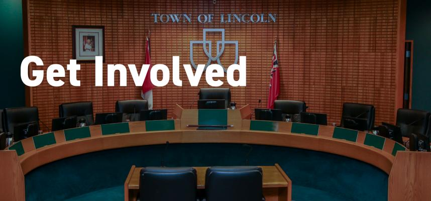"Image of Council Chambers with text reading ""Get Involved"""