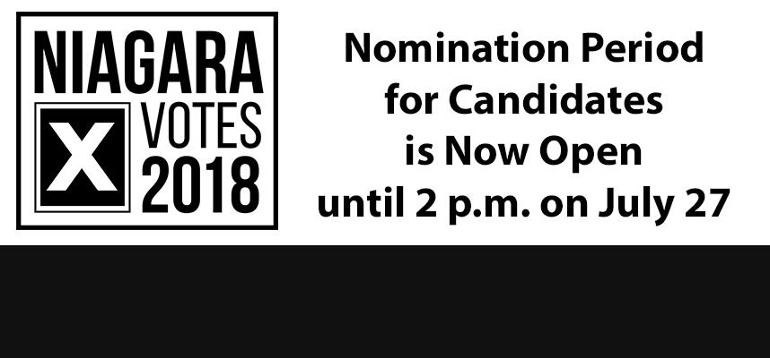 banner promoting the nomination period being open for candidates