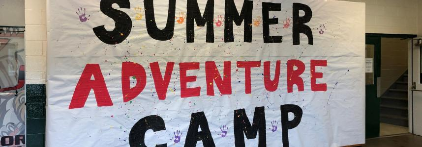 Summer camp sign made by campers