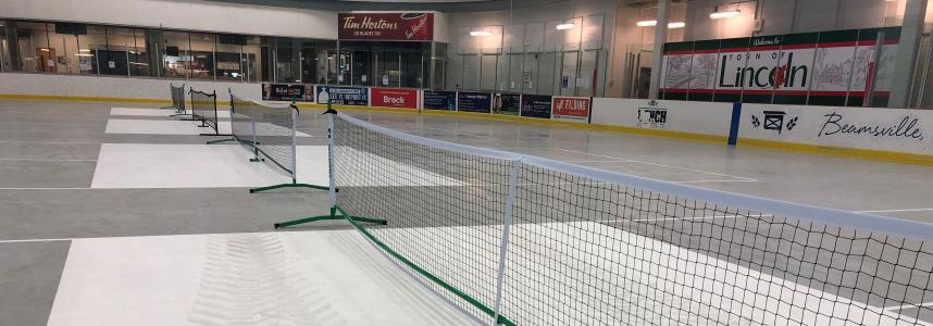 Nets set up in the arena for drop in use