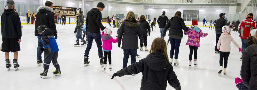 People skating at the Fleming Memorial Arena in Lincoln