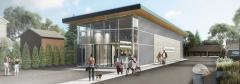 rendering from the Main Street view, of the new museum