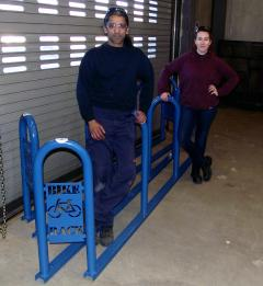 picture of 2 students who built two bike racks