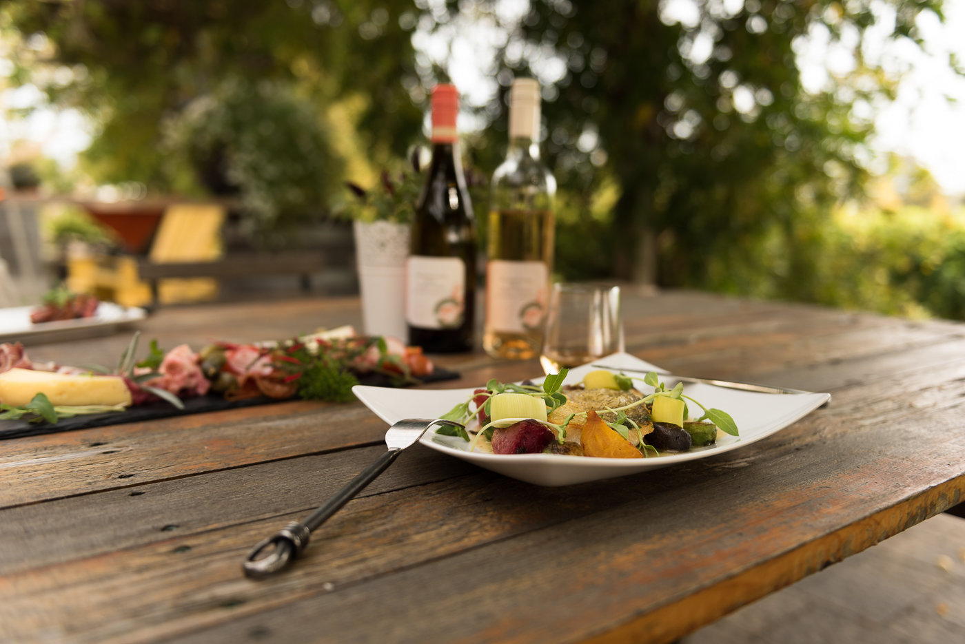 Photo of food and wine from a local winery